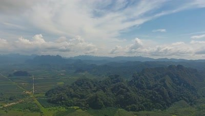 Aerial 360 degrees panorama view on Rainforest of Khao Sok National Park in Thailand, 4k