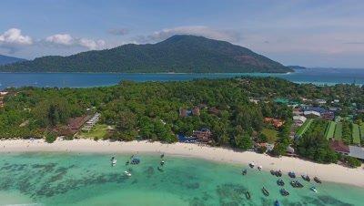 Aerial view on tropical Ko Lipe and Ko Adang islands, Thailand, 4k