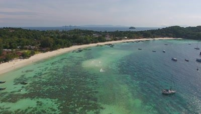 Aerial view on tropical Ko Lipe island in the Andaman Sea, Thailand, 4k