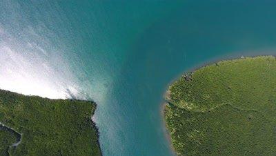 Top view aerial video of estuaries and strait on Ko Lanta island, Thailand, 4k