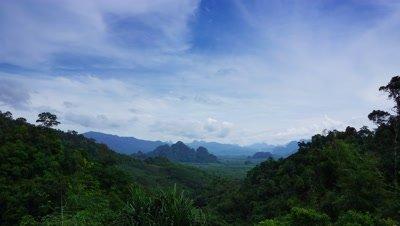 Landscape with Rainforest of Khao Sok National Park in Thailand, timelapse 4k