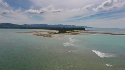 Aerial video of beauty nature landscape with cape and sea in Khao Lak, Thailand, 4k