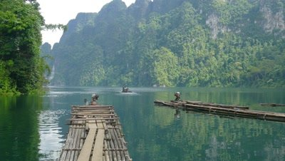 Bamboo rafts on Cheow Lan lake, National Park Khao Sok, Thailand, 4k