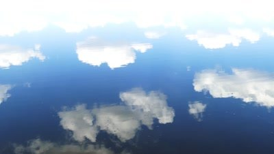 surface of water with sky and clouds reflection, 4k