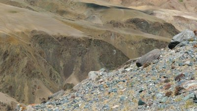 Landscape with deposit of colorful clay in the Altai Mountains or Mars valley, pan view, 4k
