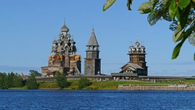 old russian wooden architecture on Kizhi island in Karelia, 4k