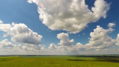 summer landscape with cloudy sky, view from hill, timelapse, 4k