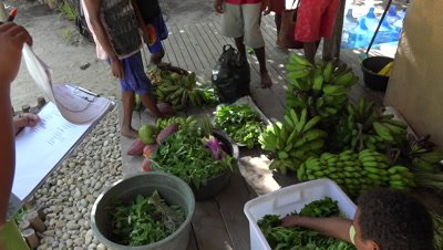 Papuan locals selling vegetables to resort with inventory list