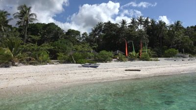 View of sandy beach on Bohol Island from boat