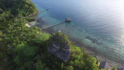 View over pristine bay on Pulau Pef in Raja Ampat