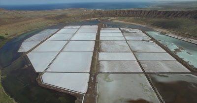 Flying high over Pedra Lume salt crater on Sal island