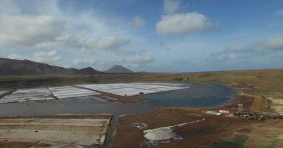 Flying into Pedra Lume salt crater on Sal island
