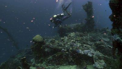 total shot of Scuba diver at Ship wreck,Palau