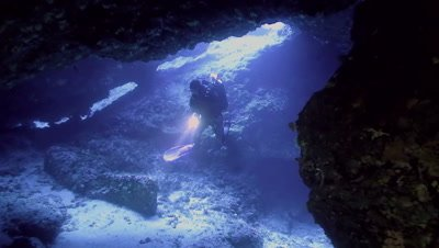 underwater shot of scuba diver in under water cave,entrance