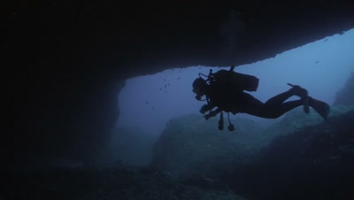 underwater shot of scuba diver in underwater cave entrance,silhouette