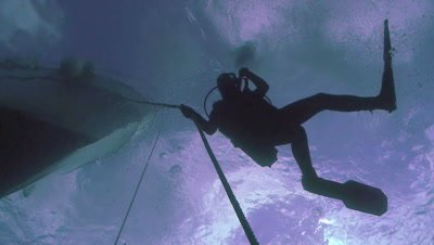 underwater overhead shot of scuba diver at decoline