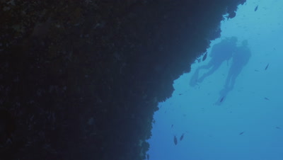 underwater low angle shot of couple of Scuba divers at Mediterranean reef wall