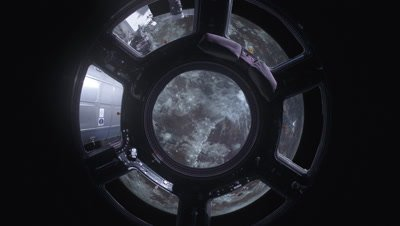 Compositing International Space Station ISS Floating Around The Moon Inside The Cupola