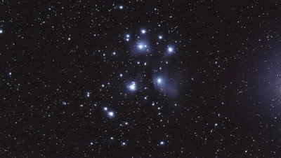 A timelapse of M45 the Pleiades showing some faint structures of the reflection nebula inside the open cluster. The shot was processed from several long exposure photographs through a telescope.