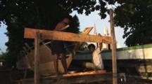 Indonesian Boat Builders At Bunaken Island