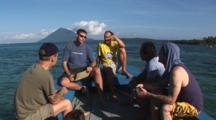 Scuba Diving Class On Diving Boat With Manado Tua In Background
