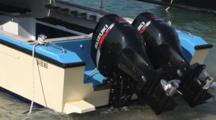 Diving Speedboat With Outboard Engines At Padangbai, Bali