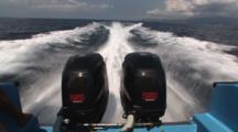 Twin Suzuki 4-Stroke Outboard Engines Driving Speedboat