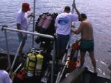 Technical Divers Jump Into The Water, Hmhs Britannic 98 Expedition