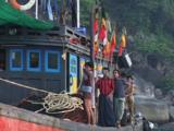 Burmese Fishing Boat Weighs Anchor, Mergui Archipelago, Myanmar