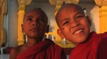 Young Buddhist Monks At Kaw Thaung Temple In Myanmar