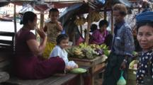 Burmese People At A Market In Kaw Thaung, Myanmar