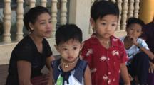Burmese Children With Thanakha Face Paint At Kaw Thaung In Myanmar
