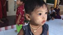 Cute Burmese Girl With Thanakha Face Paint At Kaw Thaung In Myanmar