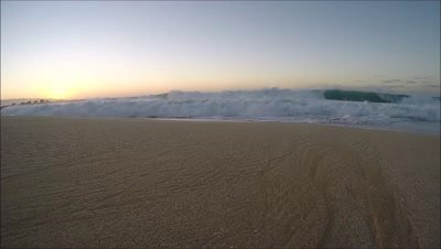 Sunset foamy surf North Shore Oahu,Hawaii