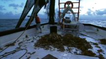 Hauling In Net On Shrimp Trawler