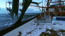 Working On The Deck Of Shrimp Trawler