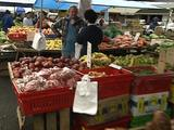 Auckland Open Air Fruit & Veg Market, Green Bananas, Taro, Man & Woman Talking, Apples, Grapes And Stall Holder Man