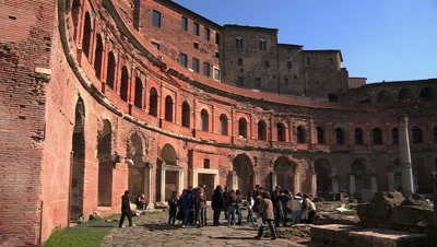 Tourists visiting the ruins of Trajan's Market