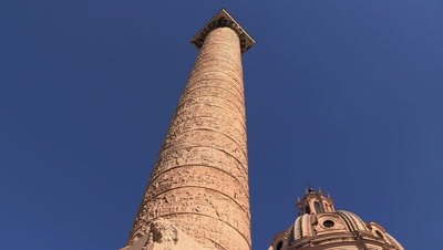 Close up of the spiral bas relief carved into Trajan's Victory Column