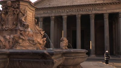Scenic view of the Fontana del Pantheon, a fountain located near the Pantheon in the Piazza della Rotonda