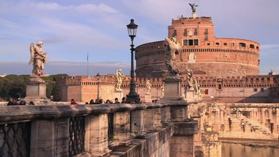 View of the Ponte Sant'Angelo bridge and angel statues, leading to the Castel Sant'Angelo