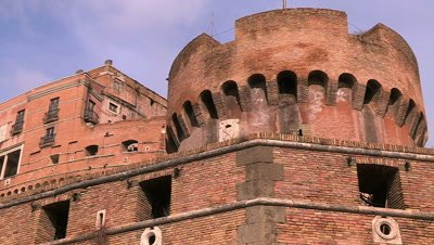 Close shot of the walls of the Castel Sant'Angelo