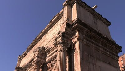 Close shot of the Arch of Septimius Severus, one of Rome's Triumphal Arches