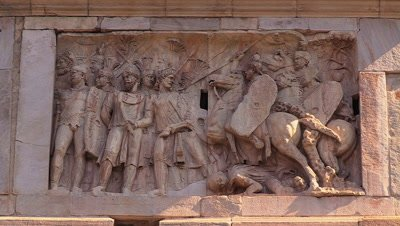 Close up of a relief on the Arch of Constantine telling the story of the Battle of the Milvian Bridge