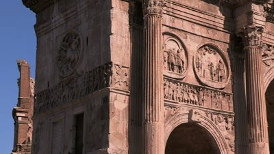 View of the various reliefs and friezes on the Arch of Constantine, one of Rome's Triumphal Arches