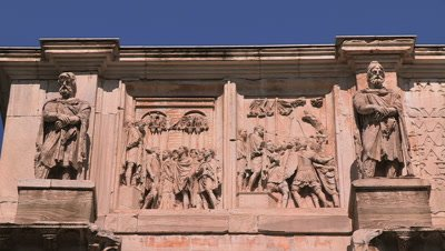 Various reliefs and friezes on the Arch of Constantine, one of Rome's Triumphal Arches