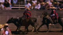 Two Cowboys Lead Bull Round Gaucho Rodeo Perimeter