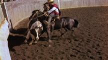 Two Cowboys & Horses Slam Bull Into Wall At Gaucho Rodeo