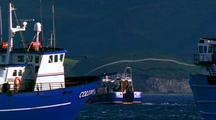 Ws 2 Fishing Boats Travelling R To L In Harbour, Hills In B/G. Thrid Fishing Boat Passes In F/G, Travelling L To R.