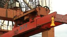 Crane Lowering Gantry Onto Container, Positioning, Attatching, And Lifting, Z/O Ms Pan R